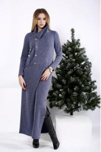 01012-2 | Длинное платье цвета джинс с разрезом