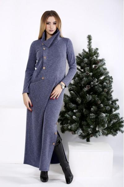 01012-2   Длинное платье цвета джинс с разрезом