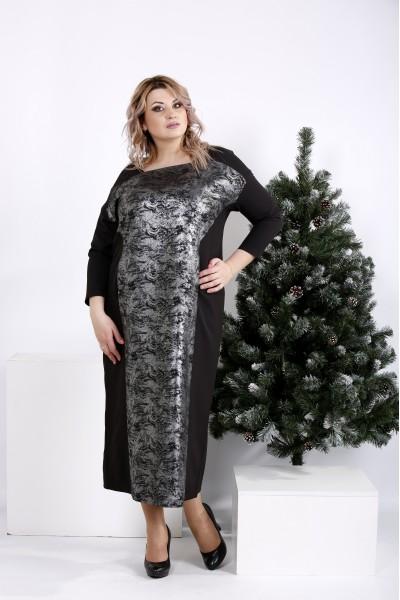 01016-3 | Элегантное черное платье макси с узором