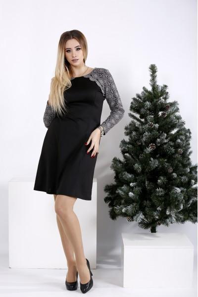01019-1 | Короткое серое платье со вставкой из макраме