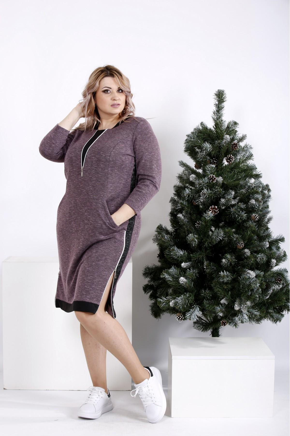 01020-1 | Платье цвета баклажан с карманами