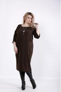 01023-1 | Шоколадное платье ниже колена