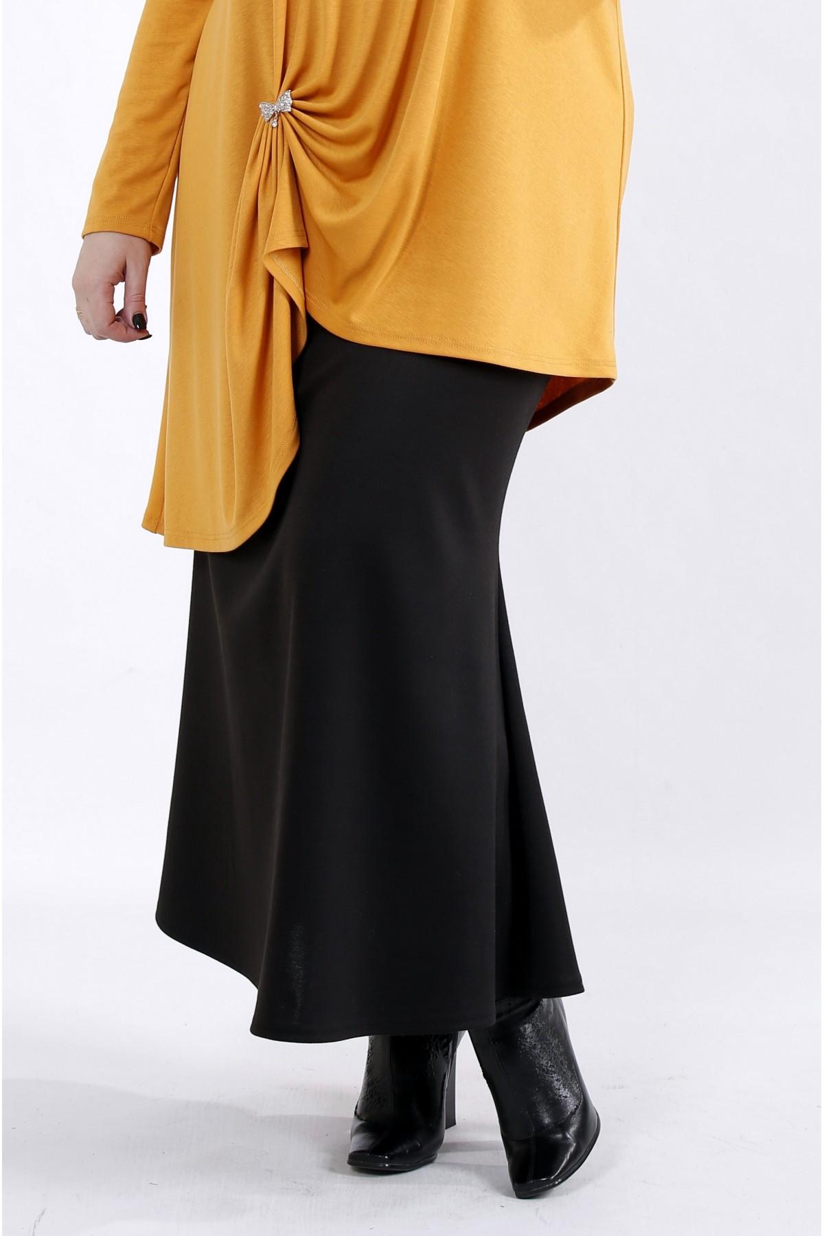 01024-1 | Черная длинная трикотажная юбка