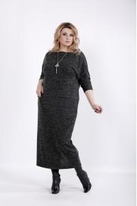 01026-1 | Черное мягкое платье в клетку