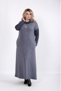 01027-3   Свободное платье в пол с длинным рукавом