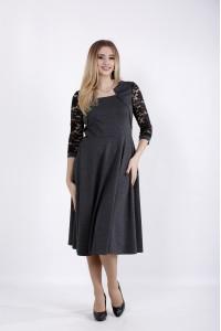 01033-1 | Темно-серое платье с гипюром на рукавах