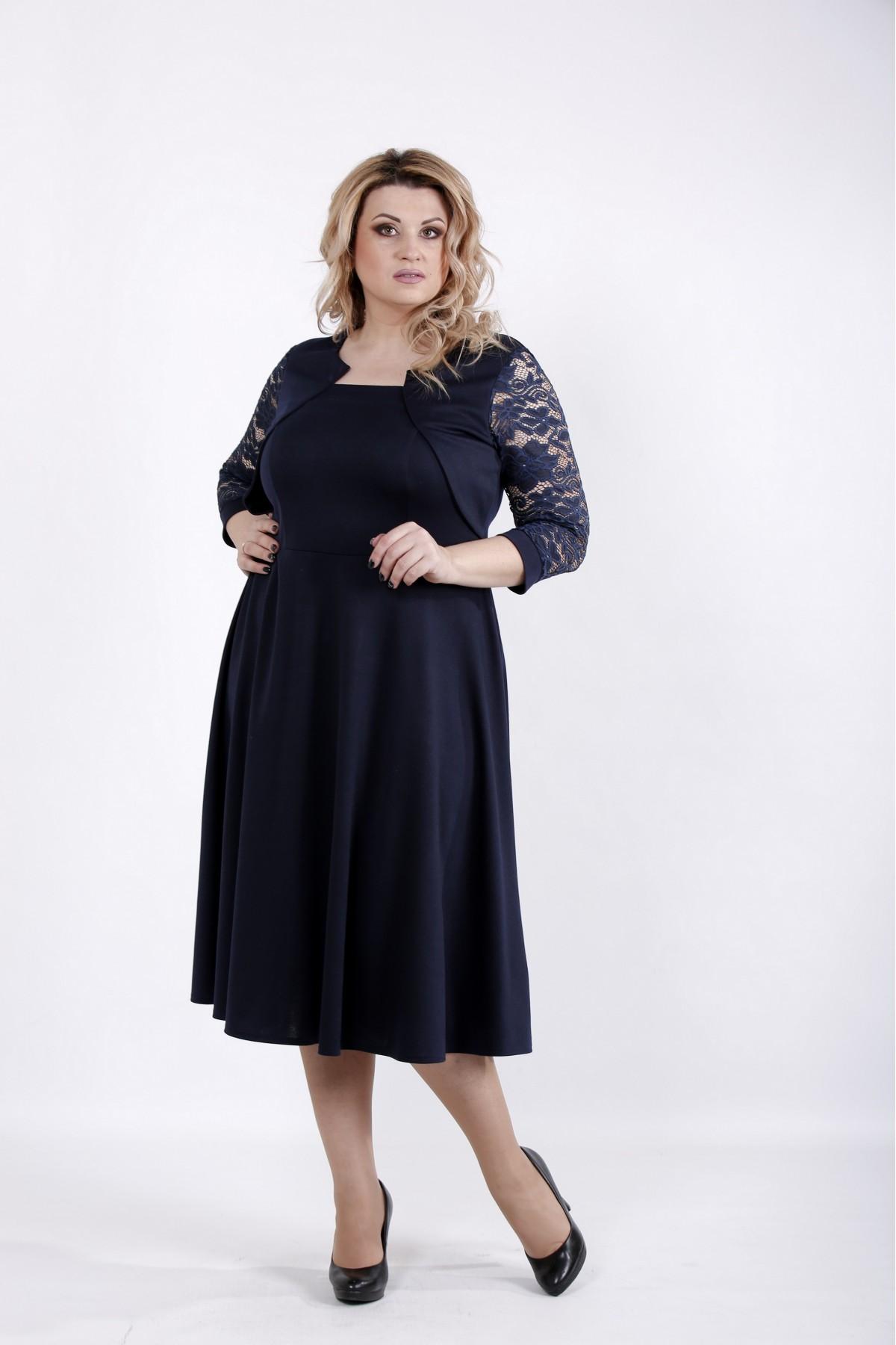 01033-2 | Синее платье из трикотажа