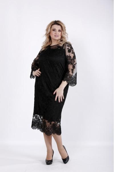 01038-3 | Черное платье с вышивкой