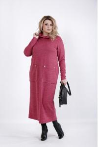 01041-1 | Малиновое платье с карманами