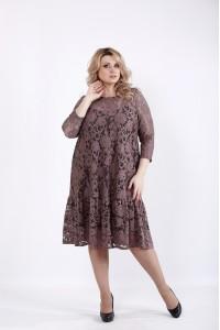 01050-3 | Нарядное платье мокко с гипюром