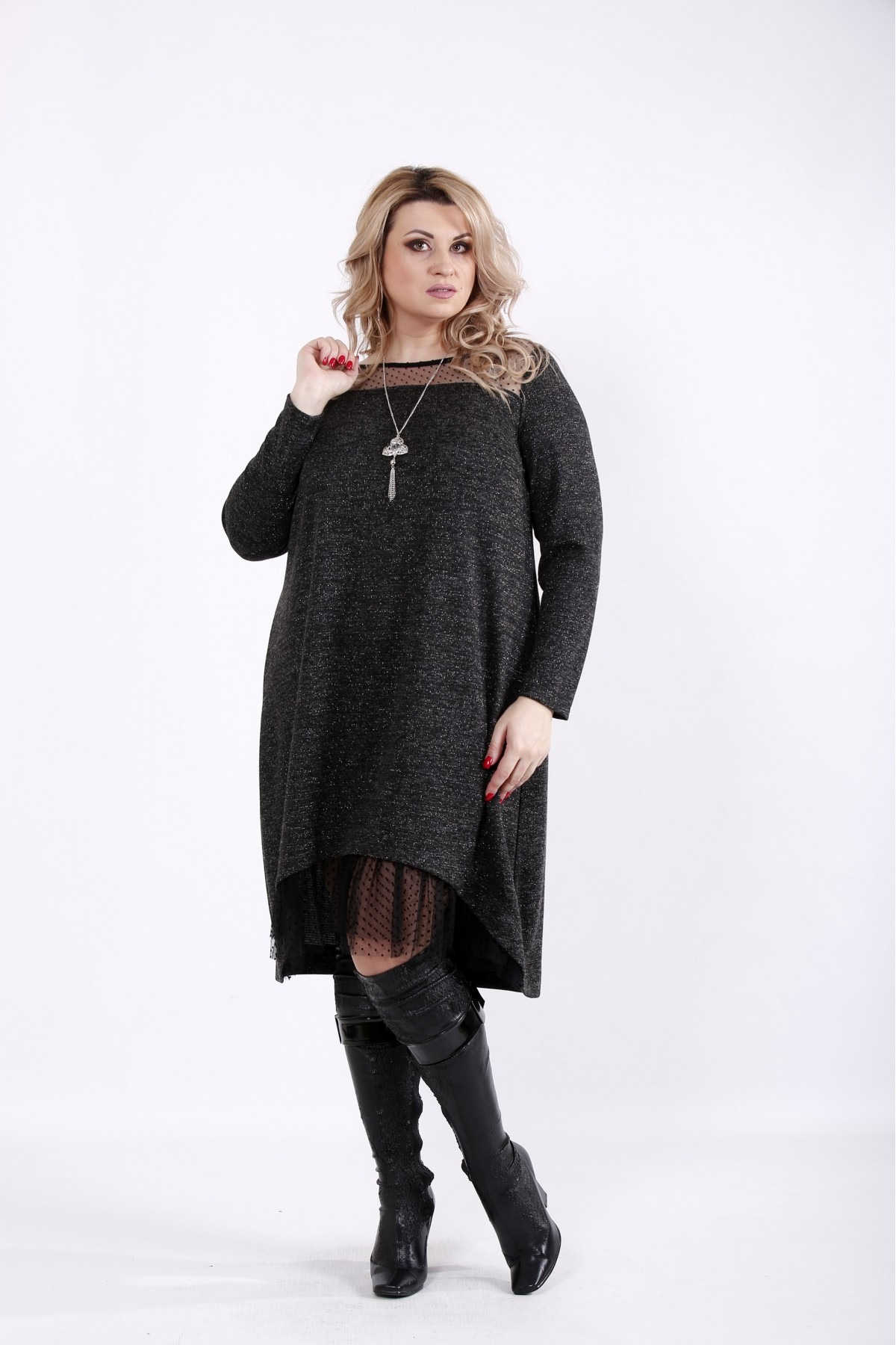 01051-3 | Черное платье с сеткой и ниткой люрикс