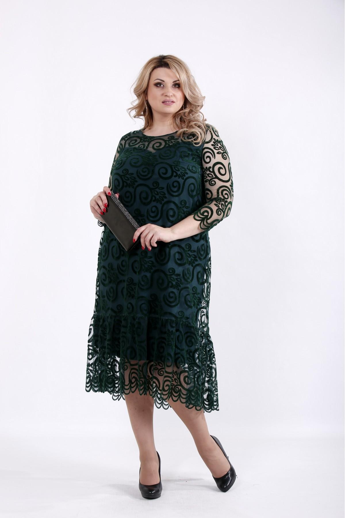 01064-2 | Зеленое платье с сеткой флок