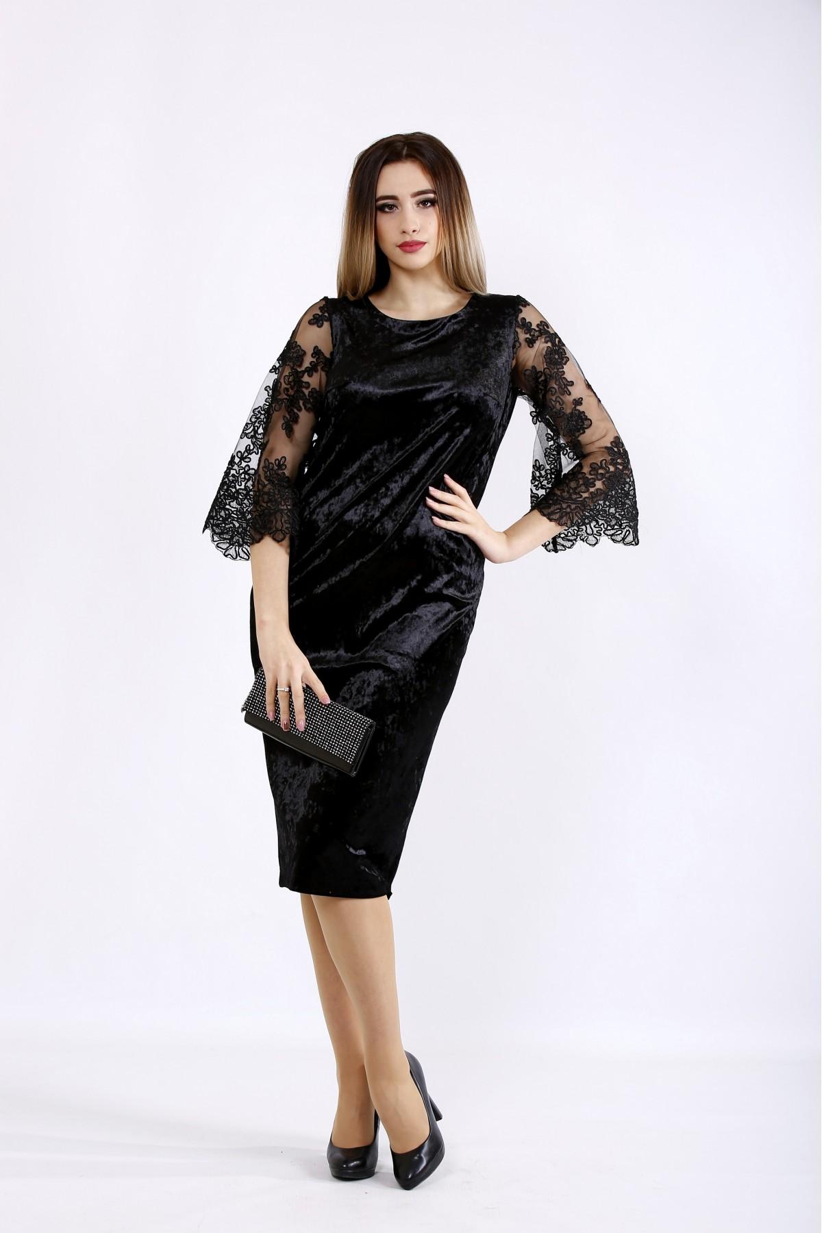 01095-1 | Черное велюровое платье с вышивкой