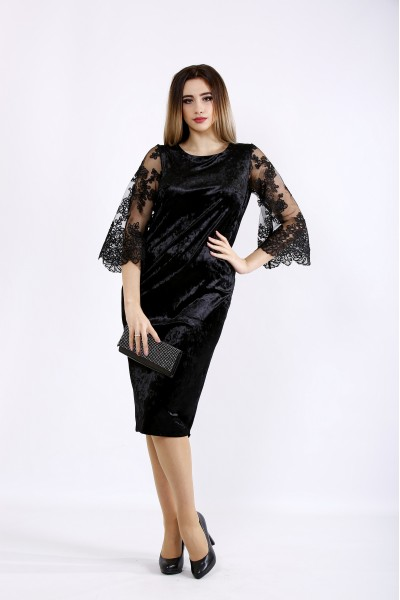 01095-1   Черное велюровое платье с вышивкой