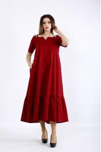 01096-1 | Длинное расклешенное платье бордо