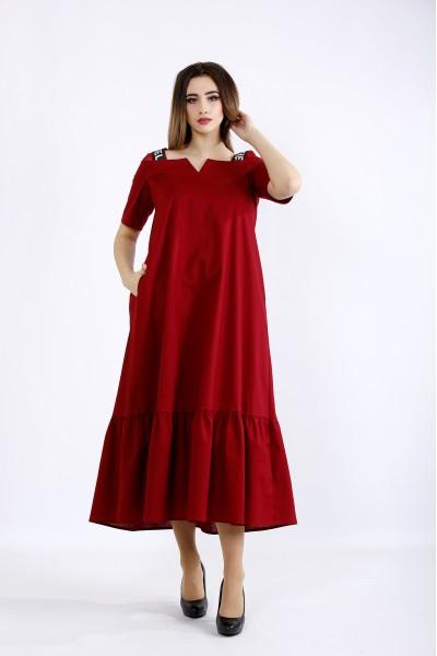 01096-1   Длинное расклешенное платье бордо