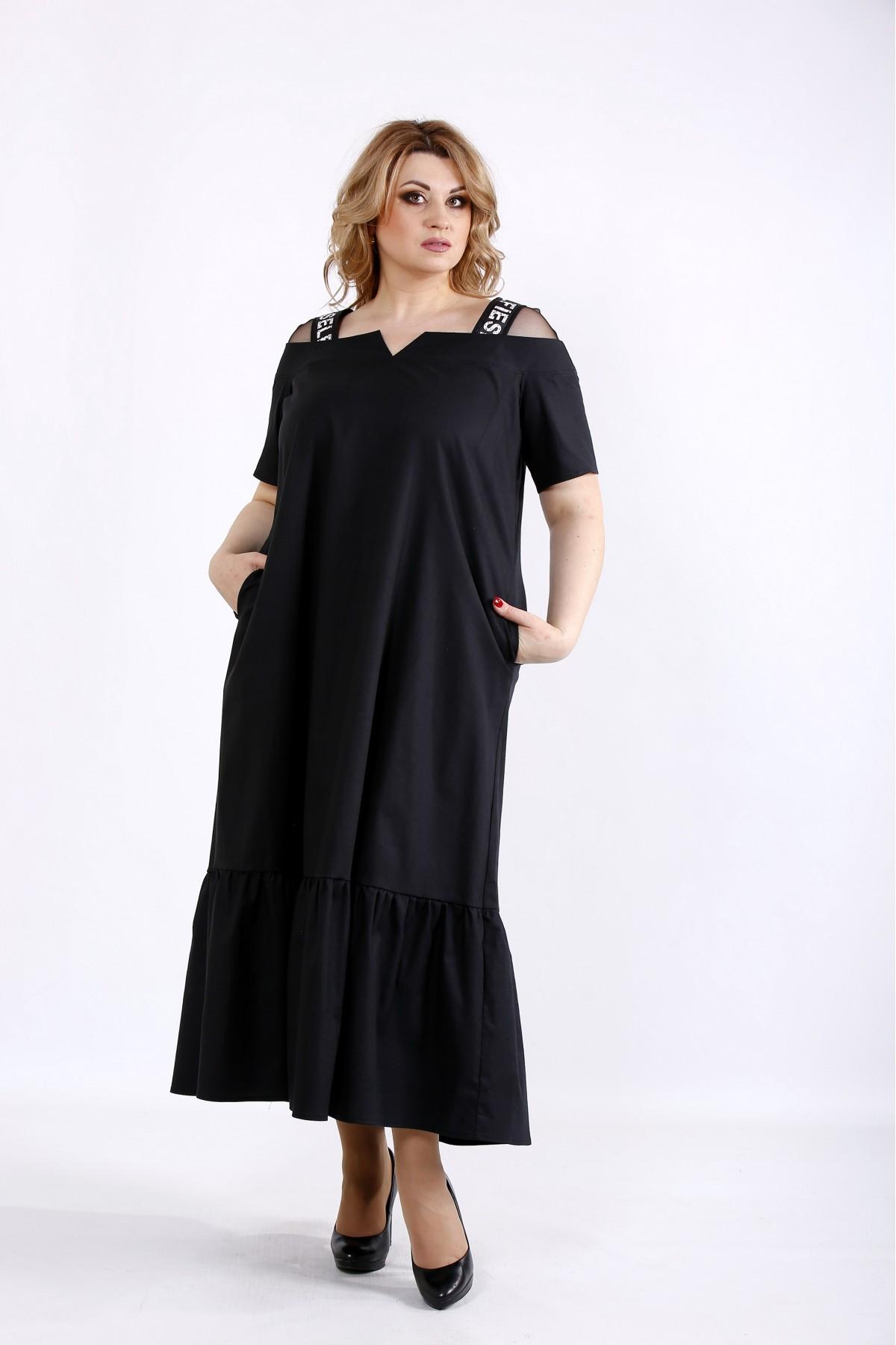 01096-2 | Черное скрывающее платье ниже колена