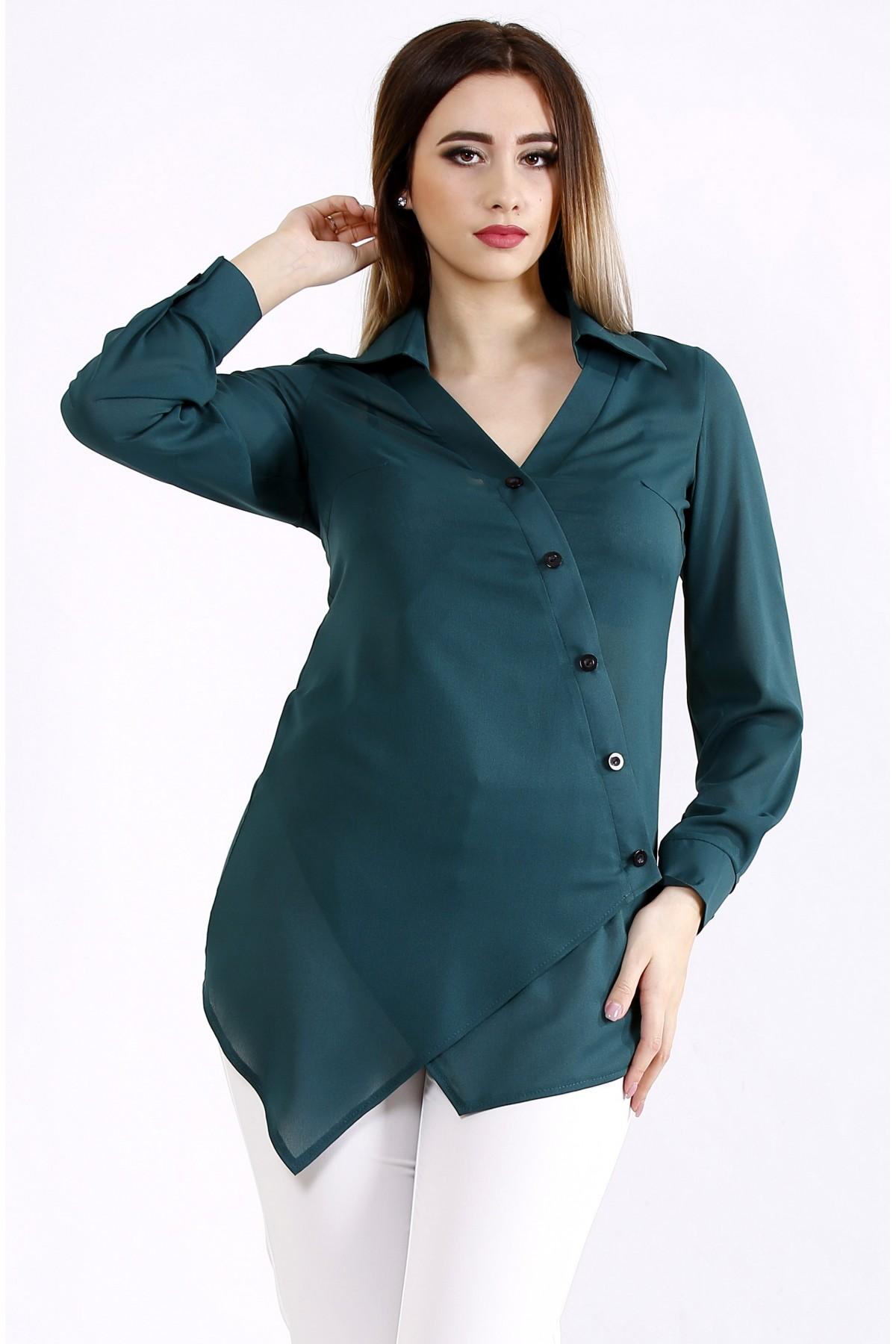 01107-1   Красивая зеленая блузка-рубашка