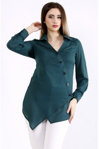 01107-1 | Красивая зеленая блузка-рубашка