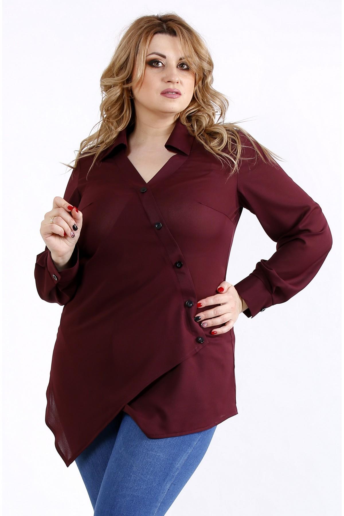 01107-2   Баклажанная нарядная блузка-рубашка