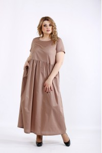 01110-3 | Свободное длинное платье мокко