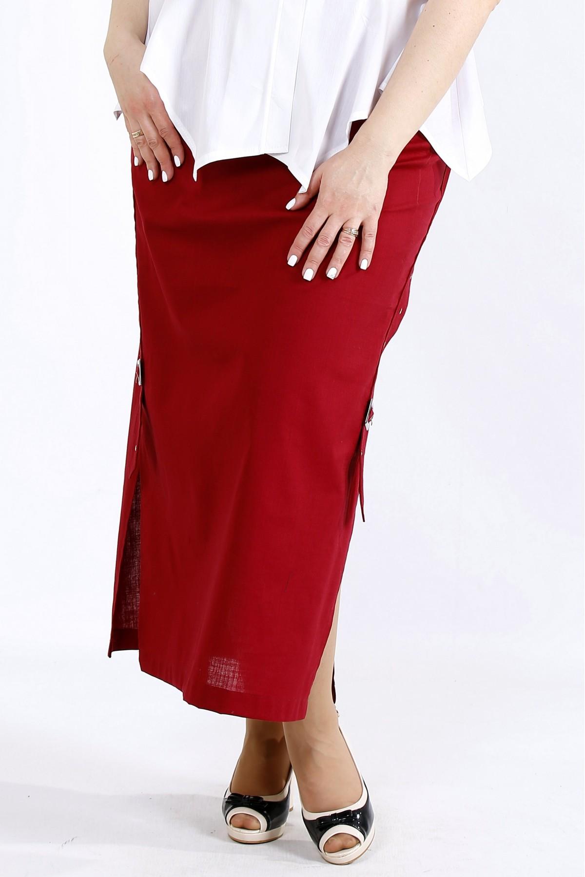 01111-3 | Льняная юбка бордового цвета