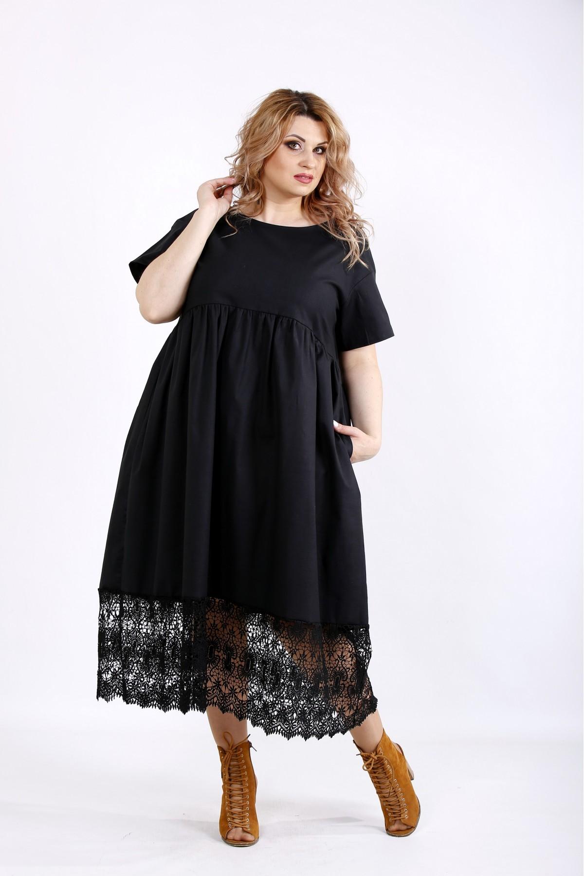 01122-3 | Черное свободное платье из льна с макраме