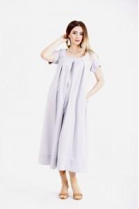 01136-1 | Льняное платье ниже колена серое