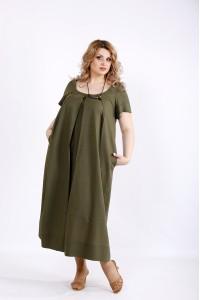 01136-2 | Платье хаки ниже колена из льна
