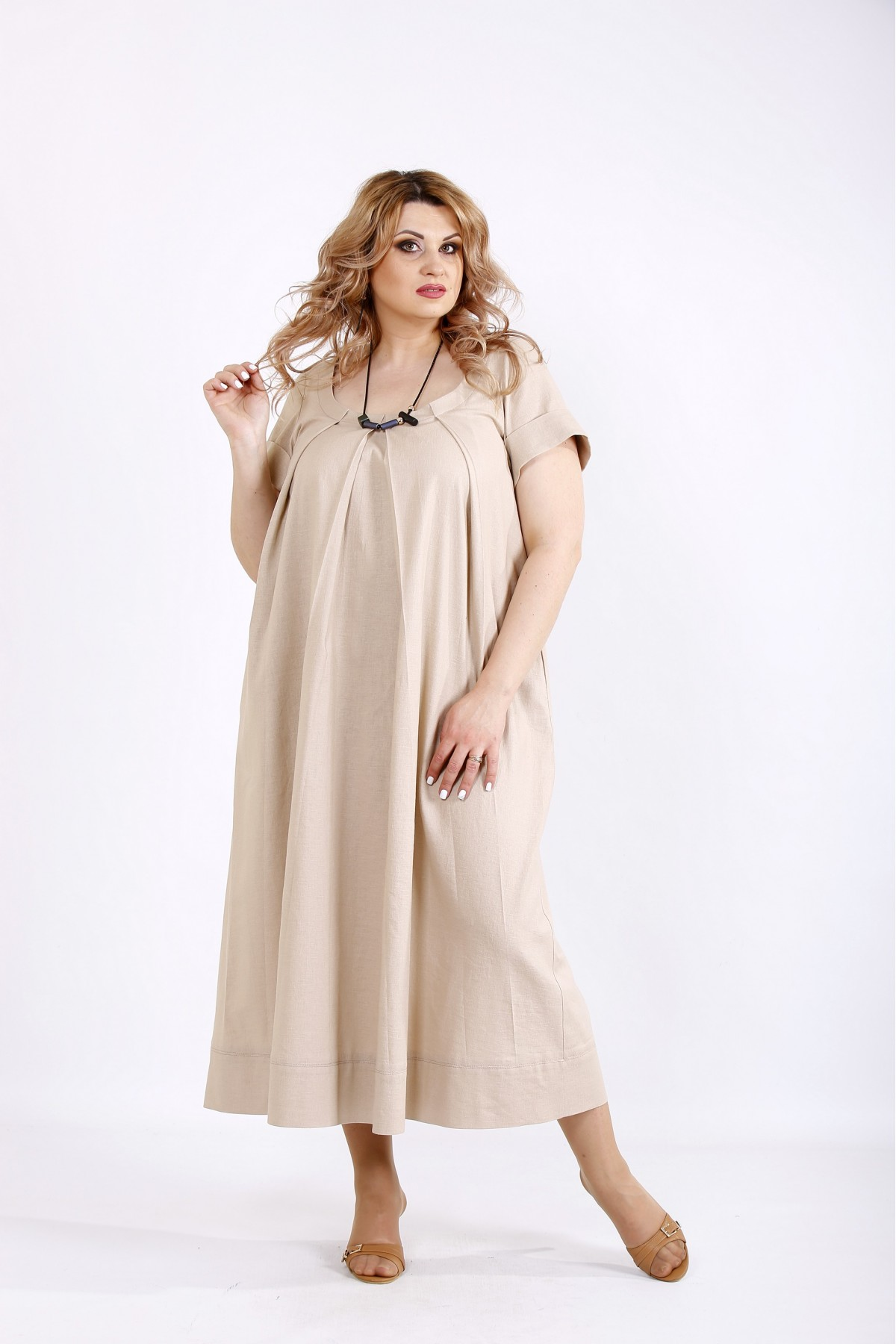 01136-3 | Бежевое длинное платье из льна
