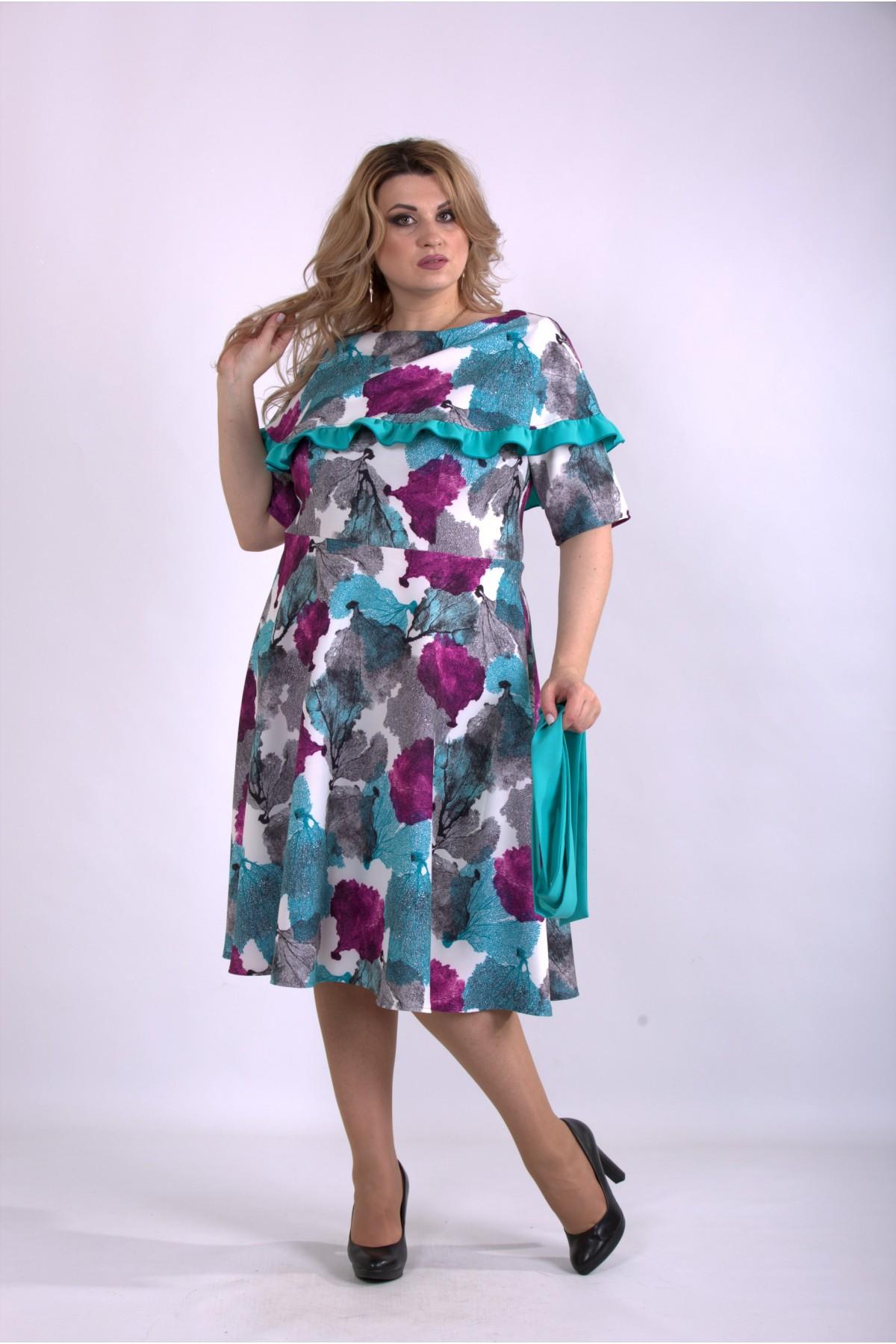 01137-1 | Бирюзовое платье с цветами