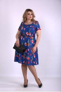 01139-2 | Синее платье с тюльпанами