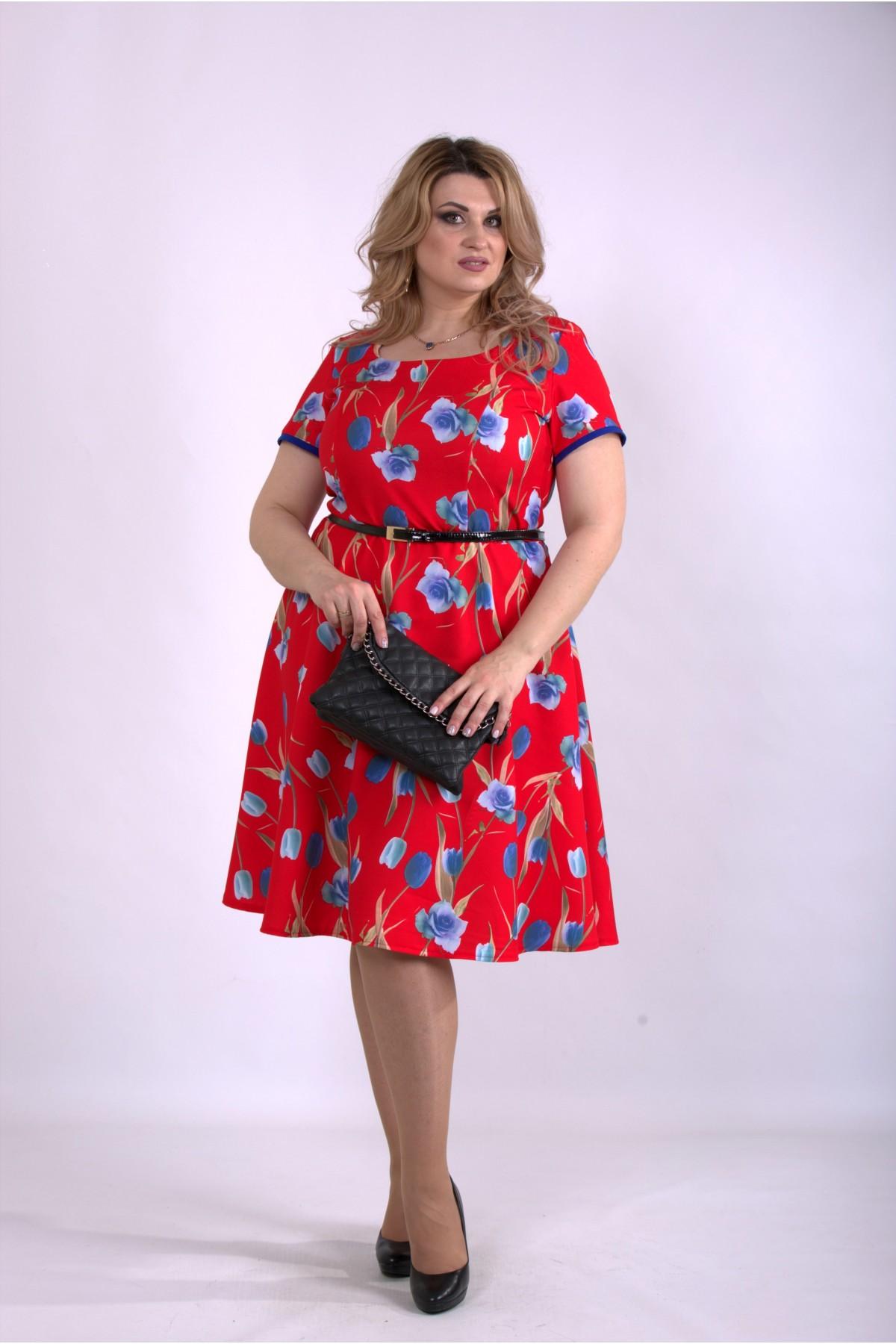 01139-3 | Яркое красное платье с тюльпанами