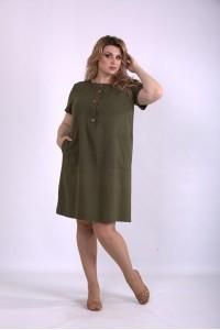 01153-3 | Льняное платье хаки
