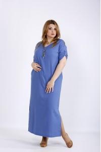 01169-3 | Синее льняное платье ниже колена