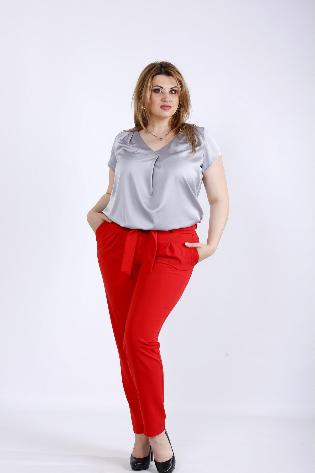 b056-3   Алые легкие брюки
