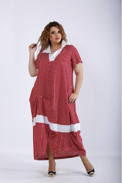 01204-2   Красное платье ниже колена в клетку