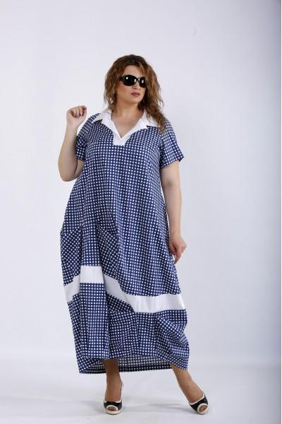 01204-3 | Синее платье в клетку