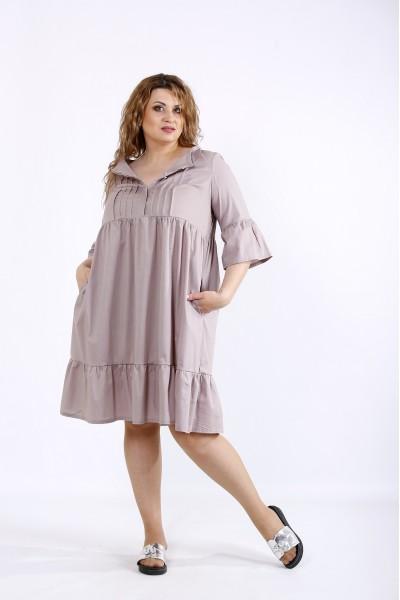 01206-2   Бежевое платье до колена