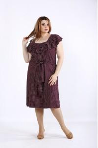 01225-2 | Бордовое платье в горошек