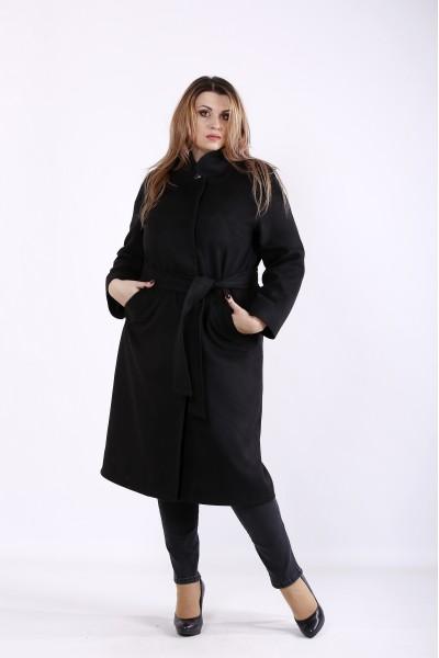 t01268-2 | Удобное элегантное черное пальто из кашемира