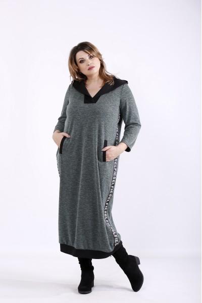 01313-2 | Темно-зеленое практичное платье мешок