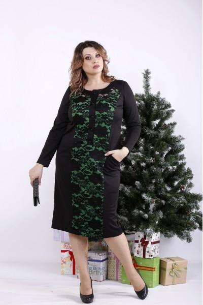 01336-2 | Черное платье с зеленым