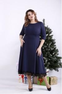 01338-2   Синее платье ниже колена