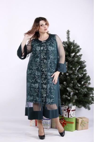 01340-1 | Зеленое платье с органзой