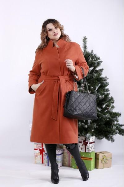 t01268-5 | Терракотовое пальто (опция с утеплителем до -10С)