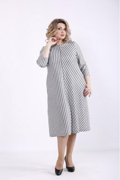 01355-3 | Светлое платье в полоску из ангоры