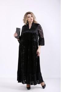 01359-1 | Черное велюровое платье макси