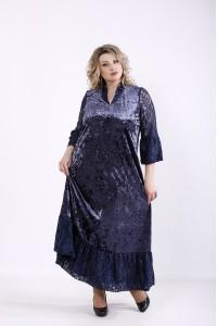 01359-2 | Синее длинное велюровое платье
