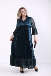 01359-3 | Зеленое длинное платье из велюра